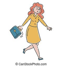 Female character in a hurry vector isolated.