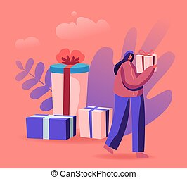 Female Character Walking with Gift Box in Hands. Festive Sale and Shopping Promotion Offer, Preparation for Winter Holidays. Woman Using Coupon for Buying Presents. Cartoon Flat Vector Illustration