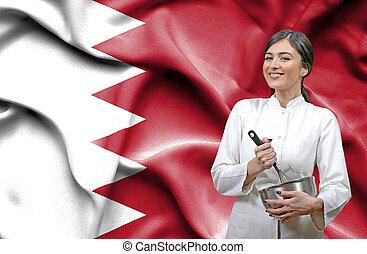 Female chef against national flag of Bahrain