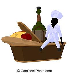 Female Chef Art Illustration Silhouette