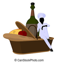 Female Chef Art Illustration Silhouette