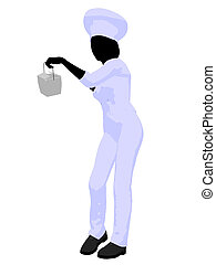 Female Chef Art Illustration Silhouette - Female chef with a...