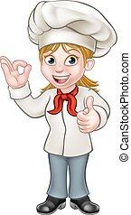 Female Chef Cartoon Character