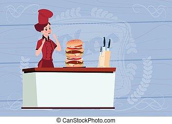 Female Chef Cook Big Burger Cartoon Chief In Restaurant Uniform Over Wooden Textured Background