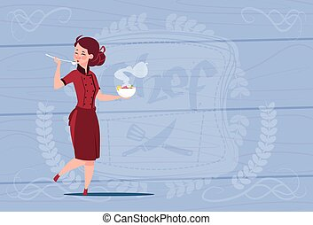 Female Chef Cook Tasting Soup Cartoon Chief In Restaurant Uniform Over Wooden Textured Background