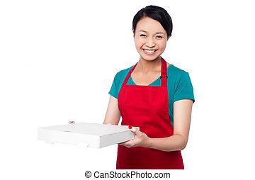 Female chef holding white pizza box