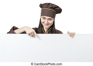 female chef pointing down