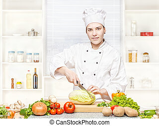 female chef preparing meal
