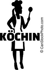 Female chef silhouette with german word