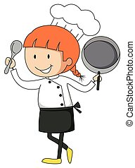Female chef with pan and spatula