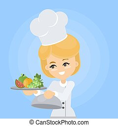 Female chef with plate.