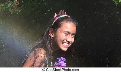 Female Child in Rain