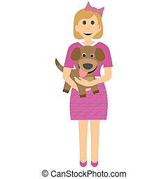 Female child with a puppy. Girl with dog in her arms