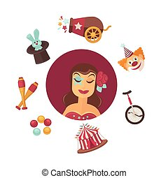 Female circus performer and equipment isolated illustrations set
