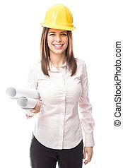 Female civil engineer in a studio
