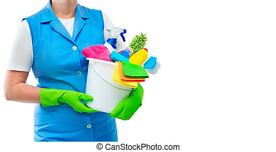 Female cleaner holding a bucket with cleaning supplies isolated on white