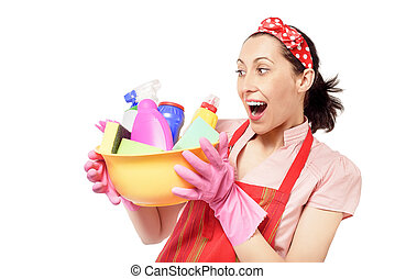 Female cleaner holding bucket with cleaning supplies.