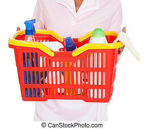 Female Cleaner With Cleaning Supplies
