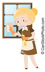 Female cleaning window with spray and cloth illustration