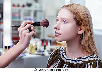 Nice pretty woman being in the beauty studio