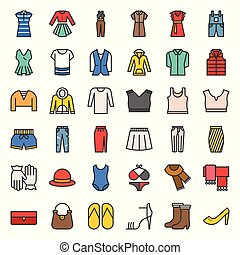 Female clothes, bag, shoes and accessories filled outline icon set 2