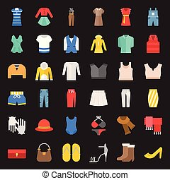 Female clothes, bag, shoes and accessories flat icon set 2