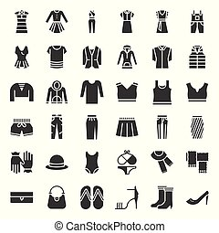Female clothes, bag, shoes and accessories solid icon set 2