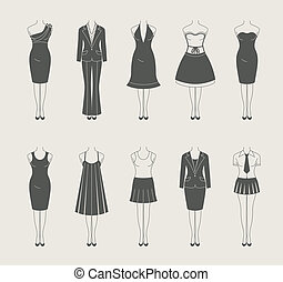 female clothes set icon