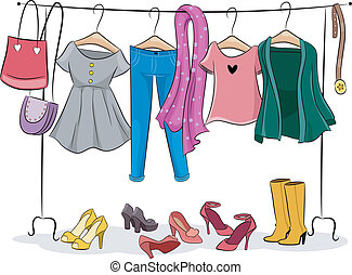 Female Clothing Rack - Illustration Featuring a Clothing...