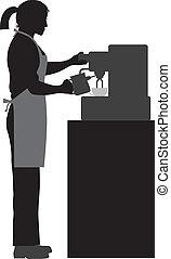 Female Coffee Bartender Barista Silhouette Making Espresso and Steaming Milk with Espresso Machine Illustration