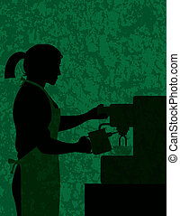 Female Coffee Barista on Textured Background Illustration