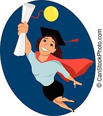 Female college graduate - Happy cartoon woman in a...