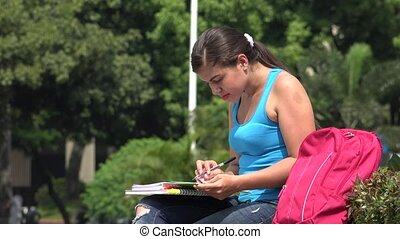 Female College Student Reading