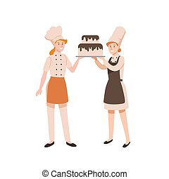 Female confectioners flat vector illustration. Pasty cookers holding two-tier cake with chocolate frosting isolated on white background. Bakers cartoon characters in uniform and chief hats