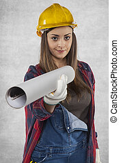Female construction worker gives plans for you