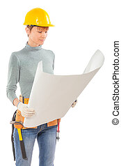 female construction worker holding and see blue print