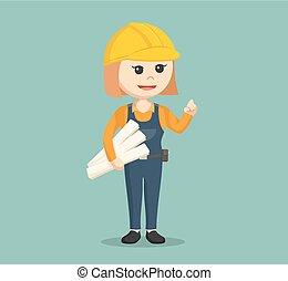 female construction worker holding blueprints
