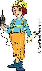Female Construction Worker, illustration