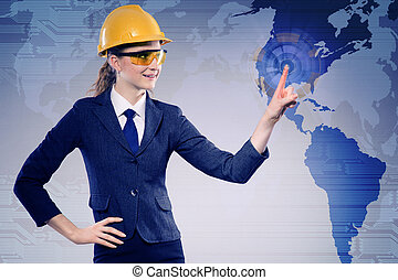 Female construction worker in globalisation concept