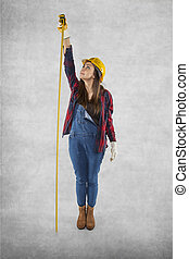 Female construction worker measures very high