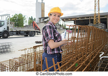 female construction worker outdoors