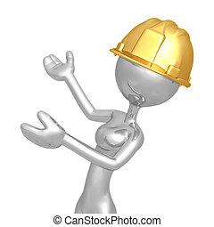 Female Construction Worker Presenter