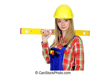 Female construction worker with level