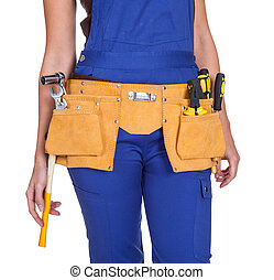 Female Construction Worker With Toolbelt. Isolated On White