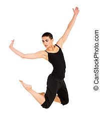 female contemporary dancer on white