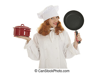 Female cook chef with pots and pans
