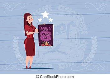 Female Cook Holding Best Chef Award Happy Cartoon Chief In Restaurant Uniform Over Wooden Textured Background