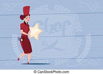 Female Cook Holding Star Best Chef Award Happy Cartoon Chief In Restaurant Uniform Over Wooden Textured Background