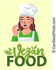 Female cook shows OK, close-up. Blogger cooking vegan food. ...