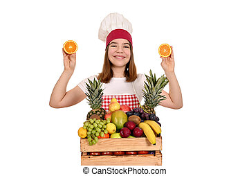 female cook with oranges and other fruit